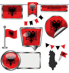Glossy icons with flag of albania vector
