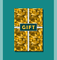 Golden and cyan vintage gift card design vector