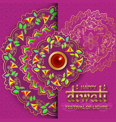 happy diwali purple template with floral paisley vector image