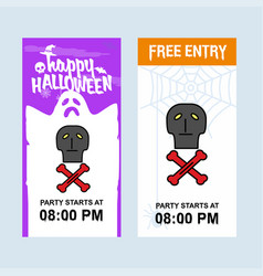 happy halloween invitation design with skull vector image