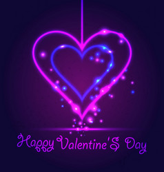 happy valentine day card in neon style on dark vector image