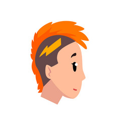 head of girl with mohawk hairstyle profile of vector image