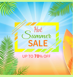 hot summer sale up to 70 percent off promo poster vector image