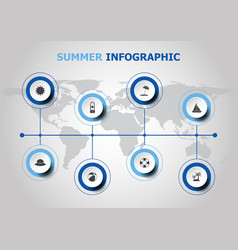 infographic design with summer icons vector image