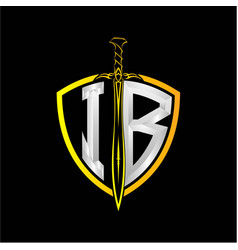 Initials i b is a shield decorated vector
