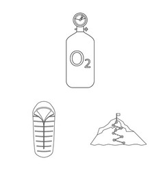 isolated object of mountaineering and peak sign vector image