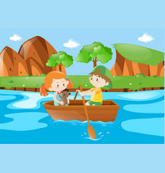 Kids rowing boat in the river vector