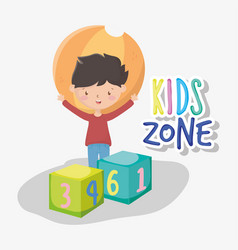 Kids zone happy little boy with ball and blocks vector