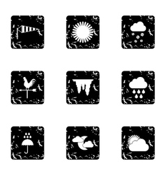 Kinds of weather icons set grunge style vector image vector image