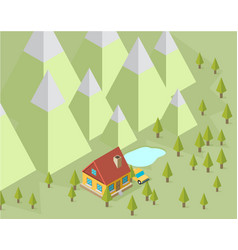 Landscape with house and trees in the isometric vector