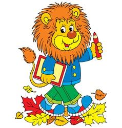 Lion school student vector