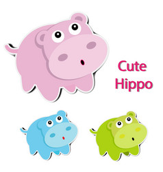 Lovely paper hippopotamus on white background vector