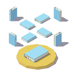 Low poly isometric book vector