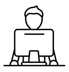 man at computer icon outline style vector image