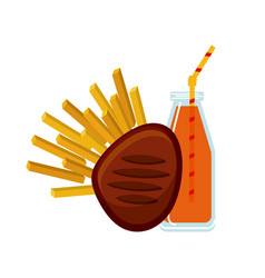 meat and french fries icon vector image
