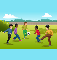 Multi ethnic group of kids playing soccer vector