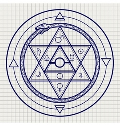 Mystical astrological sign on notebook page vector
