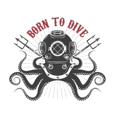 Octopus with diver helmet and two tridents vector