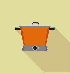 Orange slow cooker icon flat style vector