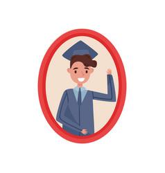 portrait of happy boy in graduation cap and gown vector image