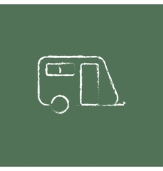 Pulling cab icon drawn in chalk vector