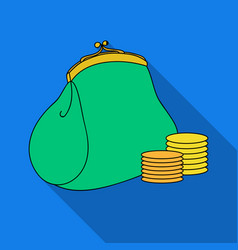 Purse with coins icon in flate style isolated on vector