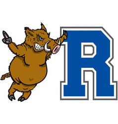 razorback logo mascot vector image