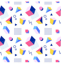 Retro memphis seamless pattern 80-90s style vector