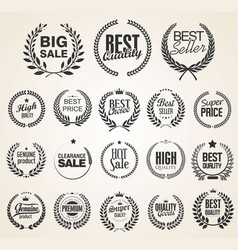 retro vintage laurel wreaths sale collection 2 vector image