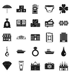 Richness icons set simple style vector