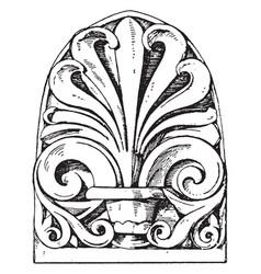Roman antefix stator vintage engraving vector
