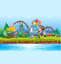 scene background design with kids in park vector image