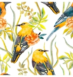 seamless pattern birds and plants bird pattern vector image