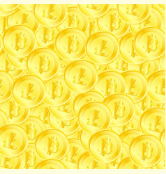seamless pattern of litecoin and bitcoin vector image