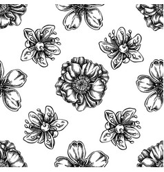 seamless pattern with black and white almond vector image