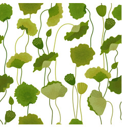 seamless pattern with lotus leaves background vector image