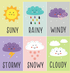 set cards with cute baweather vector image
