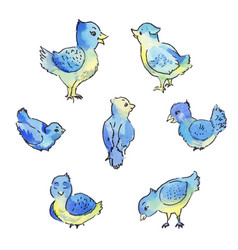 set of blue birds isolated on white hand drawn vector image