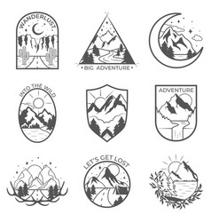 Set of nine mountain and outdoor adventures vector