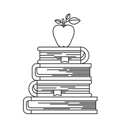 sketch silhouette of stack of books with apple vector image