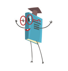 smart humanized book in a graduation cap cartoon vector image