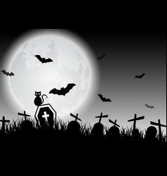 Spooky halloween background with graves and black vector