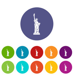 Statue of liberty set icons vector