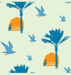 Summer seamless pattern with sun palms and surfers vector