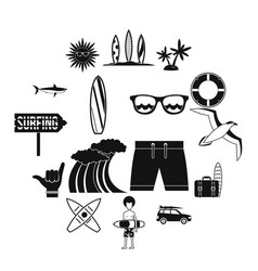 surfing icons set simple style vector image