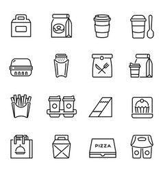 Take away food and drinks linear icons set vector