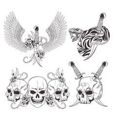 Tattoo old school drawing vector