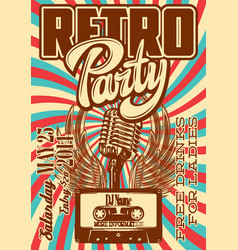 template for retro party with microphone wings vector image