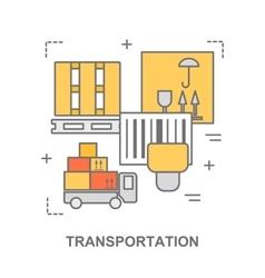 Thin line flat design banner for transportation vector image