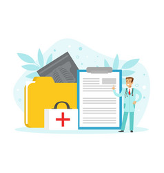 tiny doctor with patient card folder medical vector image